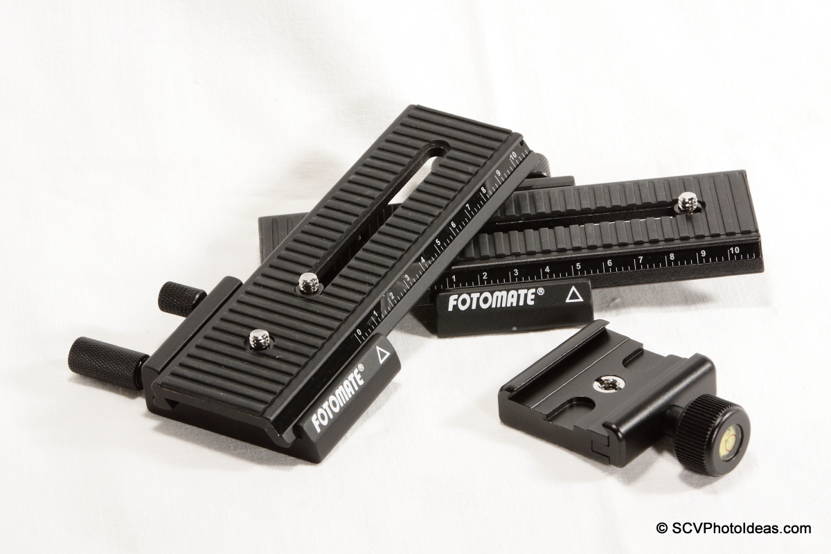 Fotomate LP-01 Geared Macro Rail pair + Fotopro QAL-500 clamp