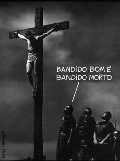 Charge de Jota com Jesus Cristo discute pena de morte e causa polêmica