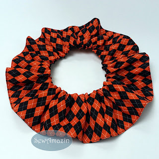 Halloween Argyle Dog Scrunchie Neck Ruffle, Orange and Black