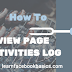 How do I view my Pages activity log on Facebook?