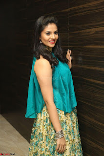 Anchor Srimukhi in green sleeveless top and skirt at O Pilla Nee Valla Movie Audio Launch Feb 2017 070.JPG