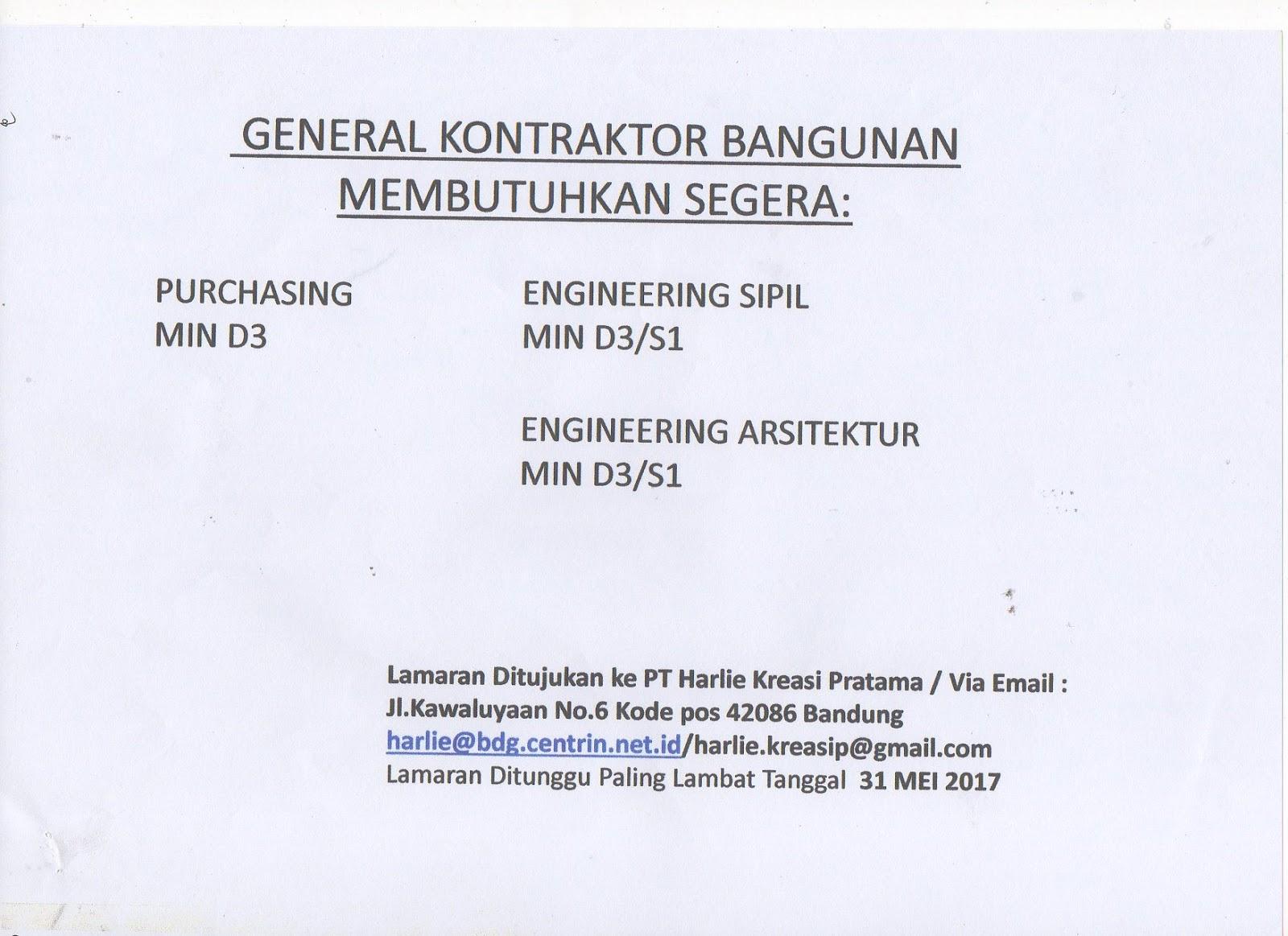 Lowongan Kerja Engineering Arsitektur Pendidikan Minimal D3