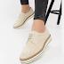 Pantofi casual femei bej piele naturala intoarsa ieftini de primavara