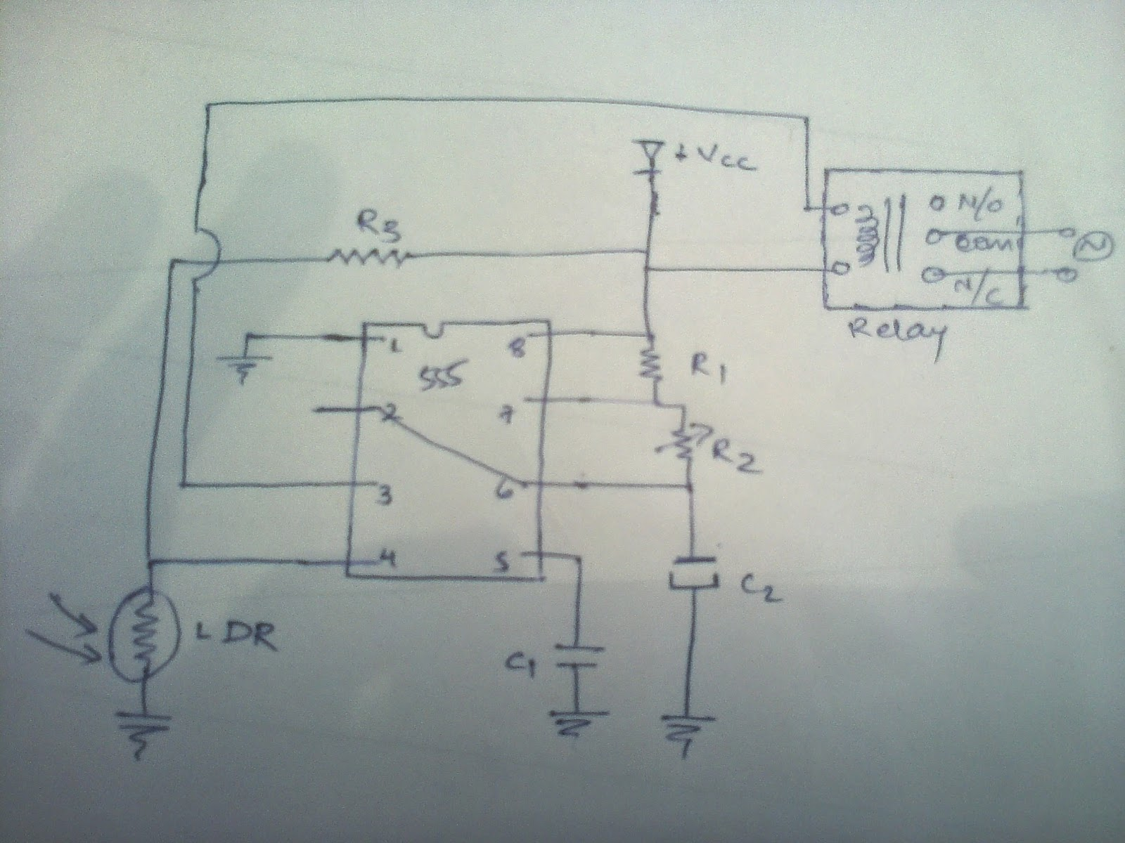 Electronic Projects Automatic Night Lamp Using 555 Timer Ic And Ldr