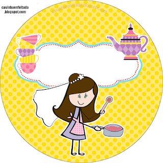 Bride Cooking in Yellow and PurpleToppers or Free Printable Candy Bar  Labels