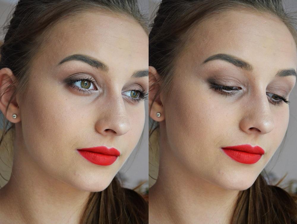 makijaż brązowe smoky i czerwone usta