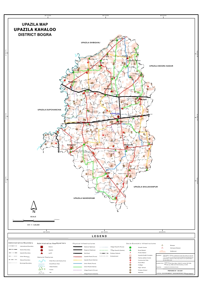 Kahaloo Upazila Map Bogra District Bangladesh