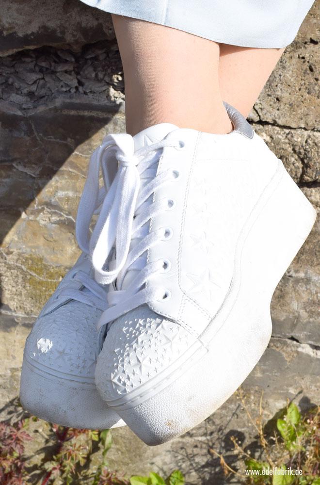 weiße Sneaker mit hohem Plateau von Ash, Sternen Druck