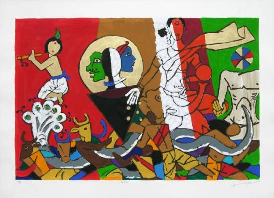 Theorama - Vedic by M F Husain - limited edition signed print (www.indiaart.com)