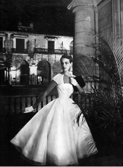 Jo Copeland of Pattullo White Organdy Tiered Dance Dress Harper's Bazaar January, 1954