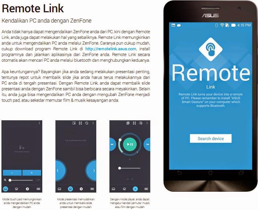 Remote Link, Kendalikan PC dari asus Zenfone