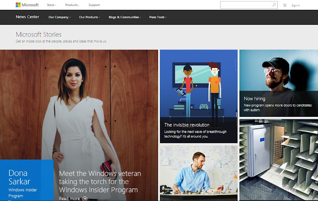 an example of great flat design by Microsoft Stories: