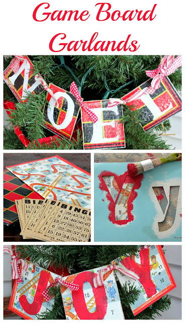 make garlands for Christmas using old game board from the thrift store