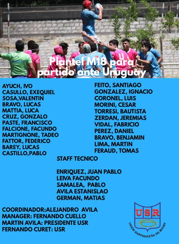 Plantel M18 de la Unión Santiagueña de Rugby para visitar a Uruguay