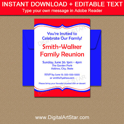 family reunion invitation printable in red and royal blue