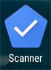 Icono de la aplicación (un pentágono azul con un visto en su interior) acompañado de la etiqueta Scanner