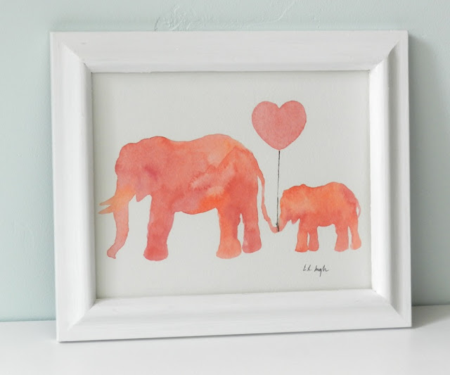 mom and baby elephant painting
