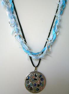 Steampunk pendant (metal, seed beads, hardware, leather, ribbon, chain) :: All Pretty Things