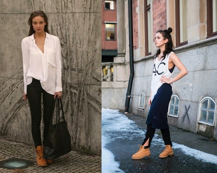timberland black white outfit