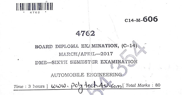 DIPLOMA AUTOMOBILE ENGINEERING C-14 PREVIOUS QUESTION PAPER