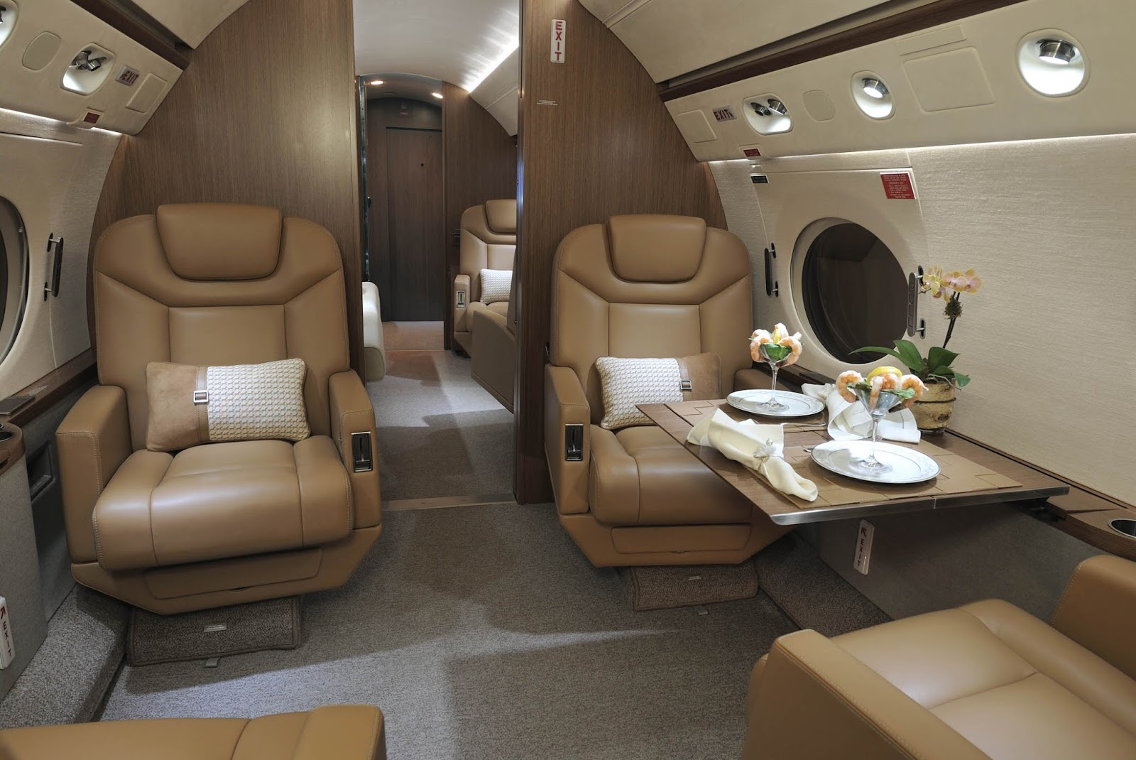 Handcrafted By The Team At IJI, This Luxury Private Jet Includes Throw  Pillows Designed And Fabricated At IJI Using Exquisite Hermes Fabric, ...
