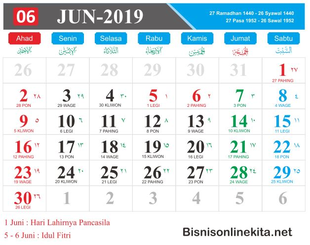 kalender 2019 juni