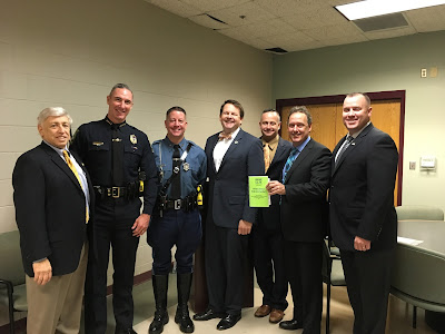 Dr. Jordan Warnick, Walpole Chief of Police John Carmichael, Trooper Kevin Collins, State Representative Shawn Dooley,  Walpole Officer Billy Madden, Stephen Spiewakowski, Franklin Officer John Maloney