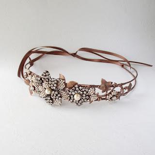 handmade rhinestone headpiece, sparkly crystal rhinestones, vintage glass pearls, feminine, floral, special occasions, wedding, birthday, graduation