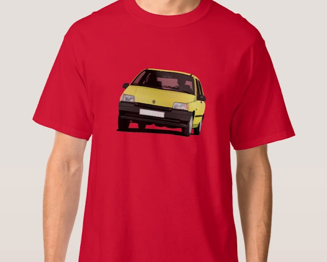 Zazzle Yellow Renault Clio illustration print t-shirt