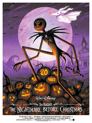 The Nightmare Before Christmas 20th Anniversary Purple Variant Screen Print by Jeff Soto