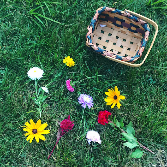 flowers and basket