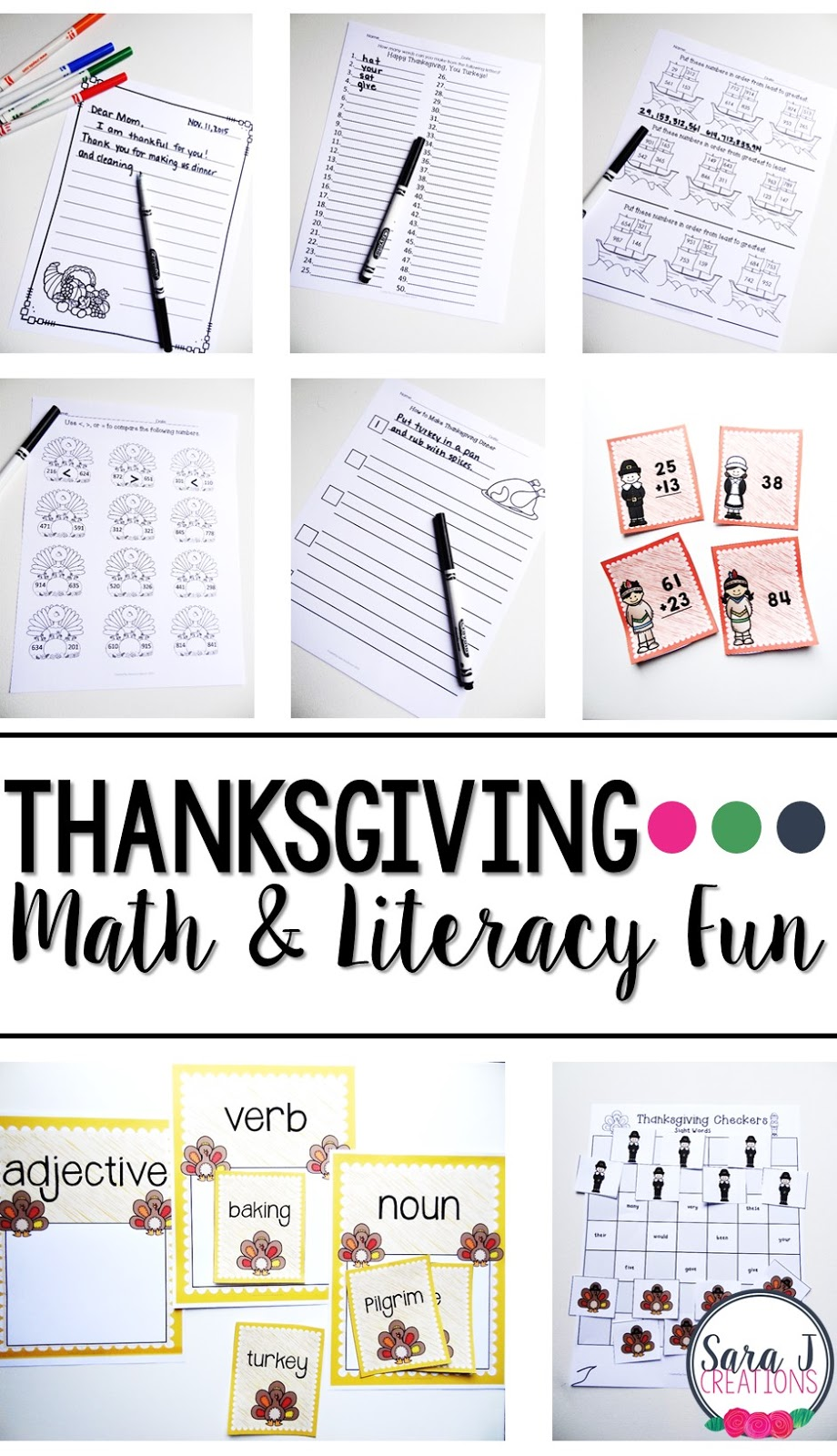 Thanksgiving themed printable ELA & Math activities for the classroom