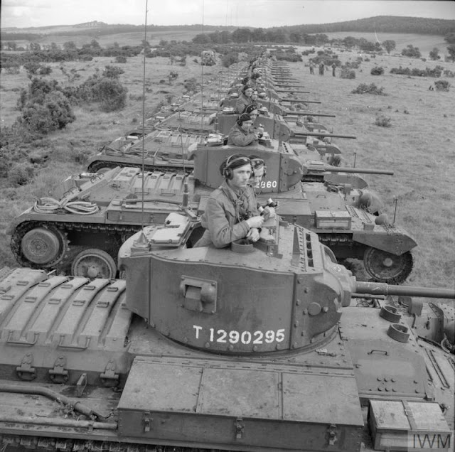 Valentine Mark III tanks on maneuvers, 21 August 1941 worldwartwo.filminspector.com