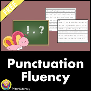 FREE Punctuation Fluency Strips let students easily practice how to read punctuation like periods, question marks, and exclamation points. #punctuation #freebie #readingfluency