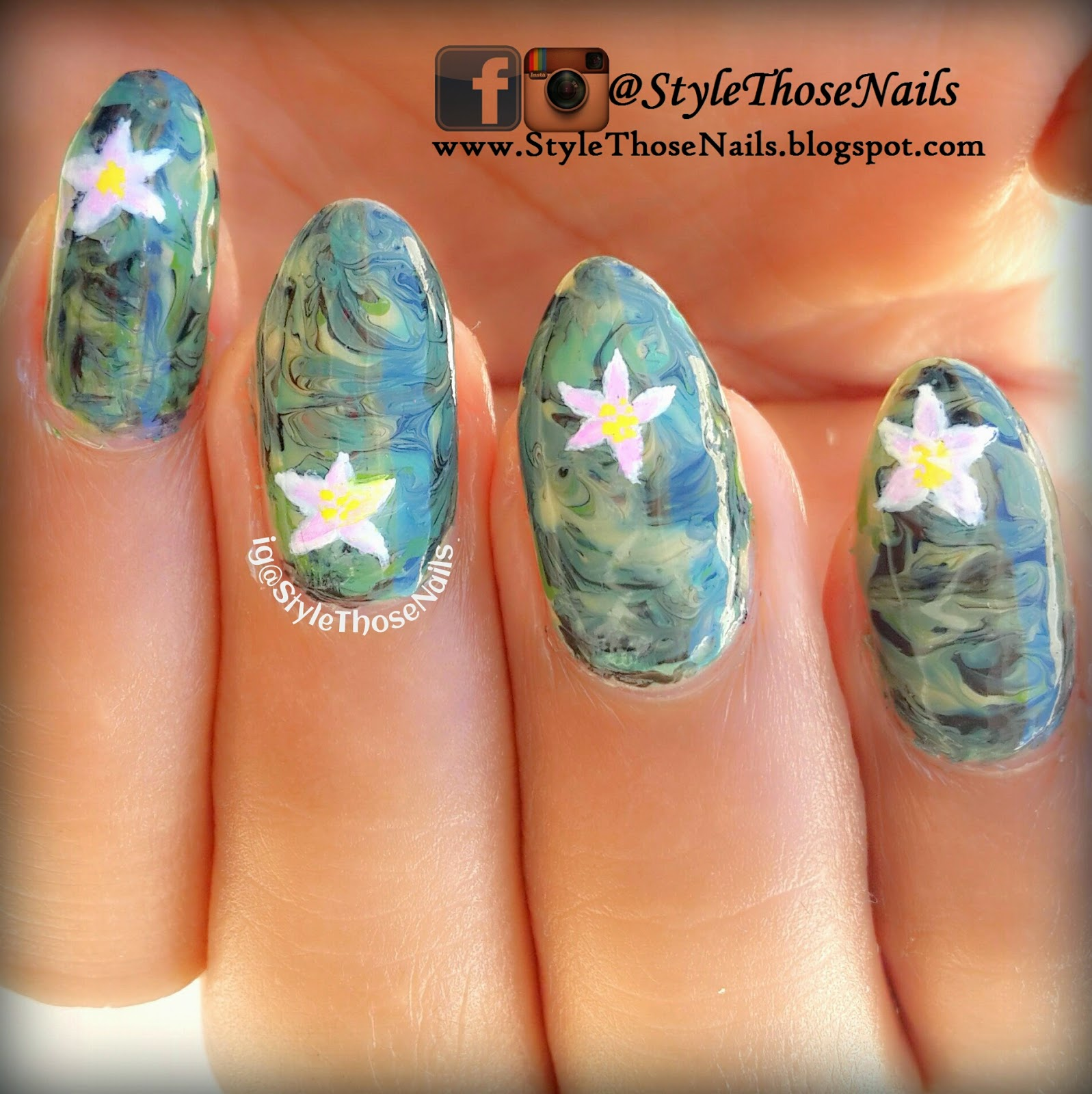 Style Those Nails: Camouflage Nails using dry marbling
