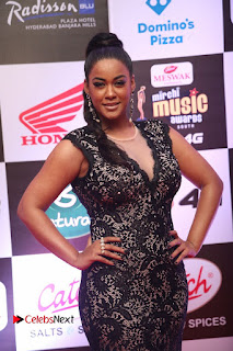 Actress Mumaith Khan Pictures in Black Dress at Mirchi Music Awards South 2015  0079.JPG