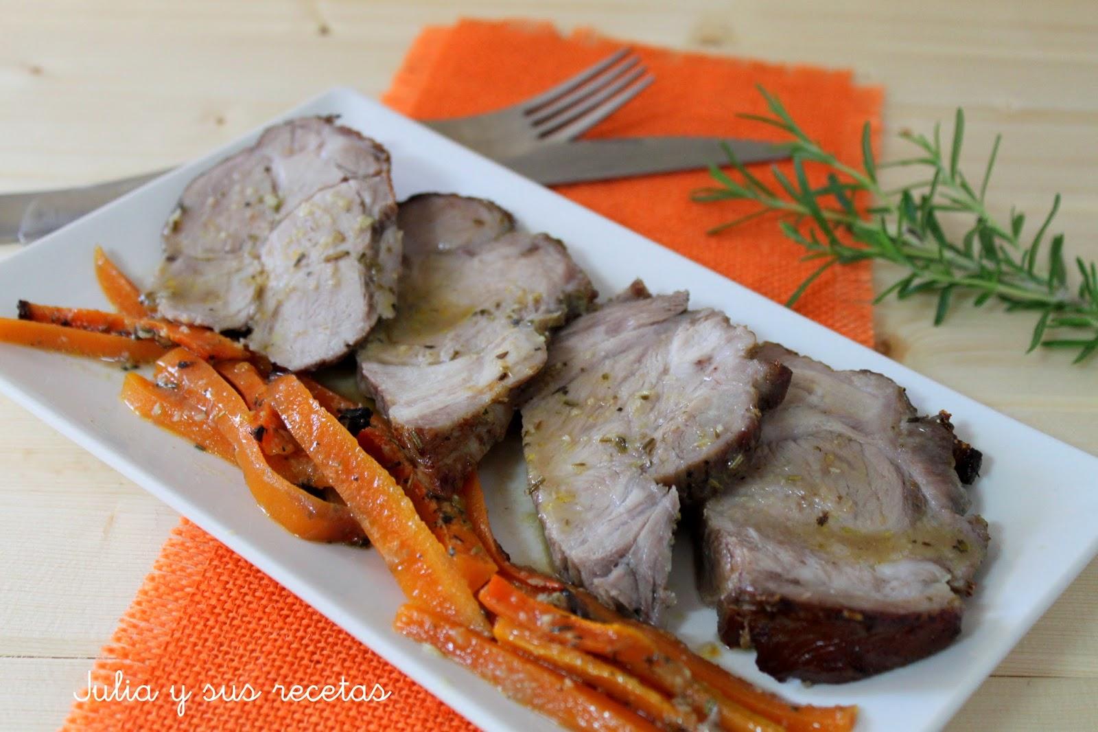 Aguja de cerdo al horno con zanahorias. Julia y sus recetas