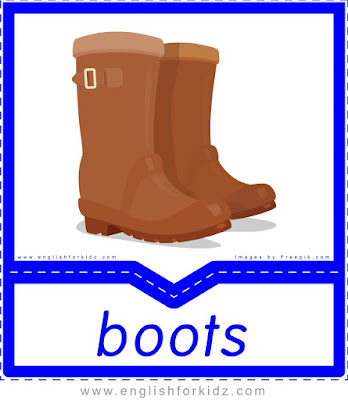 Boots - free clothes flashcards with pictures