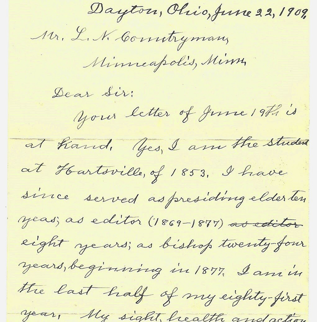 Bishop Wright, father of Wilbur and Orville Wright letter