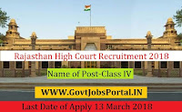 Rajasthan High Court Recruitment 2018– 2309 Class-IV