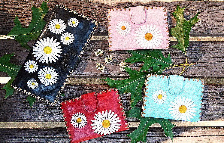 LAVISHY vegan leather daisy wallets