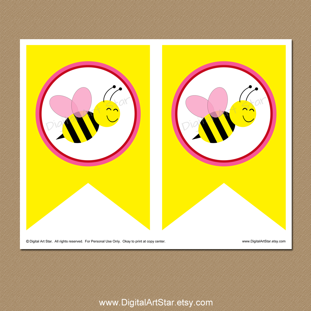 Bumble bee spacer pages for printable Valentine banner