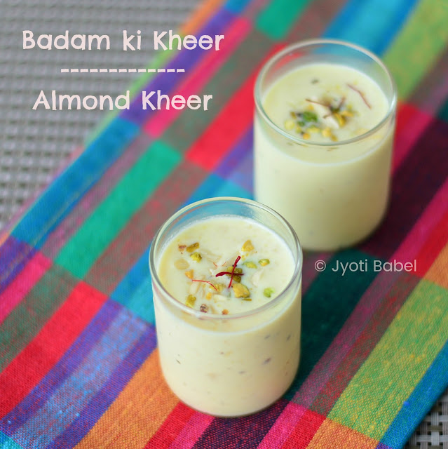 This Badam Kheer /Almond Kheer is inspired by the traditional Kheer which is an Indian rice pudding. Instead of rice, I have used coarsely ground almonds in this badam kheer recipe. www.jyotibabel.com