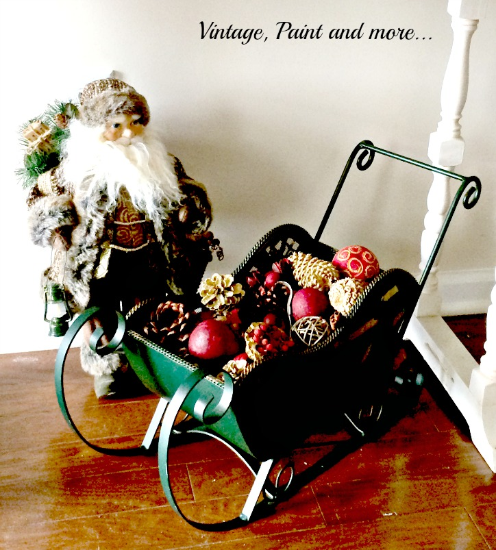 Vintage, Paint and more... Vintage Christmas decor with Old World Santa, metal sleigh filled with pine cones and potpourie