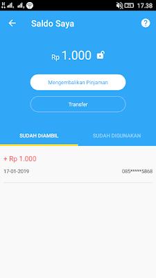 Bukti Uang Gratis Pertama sudah masuk dari Aplikasi Rupiah Cepat