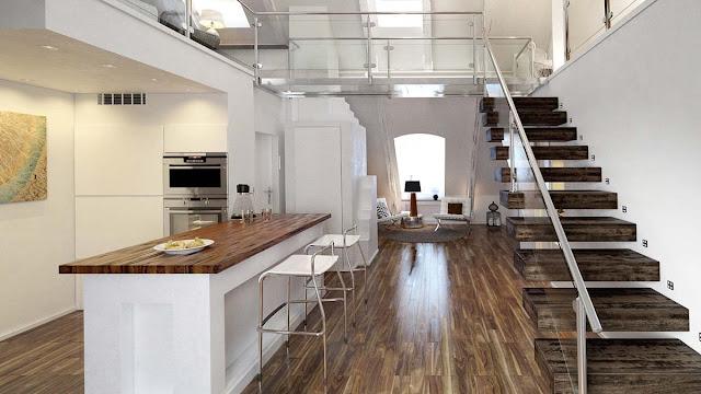 Desain 3D Interior Dapur Bersih Yang Elegan