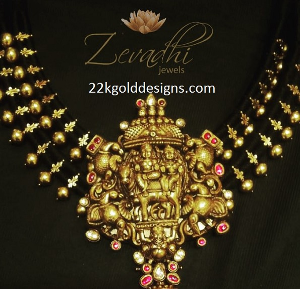 Stunning Temple Pendant with Black Dori Necklace