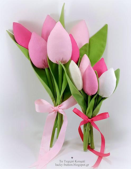 Μπουκέτο από υφασμάτινες τουλίπες ροζ-φούξια αποχρώσεις