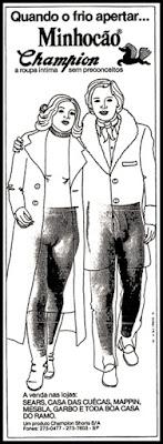propaganda minhocão Champion - 1978; moda anos 70; propaganda anos 70; história da década de 70; reclames anos 70; brazil in the 70s; Oswaldo Hernandez