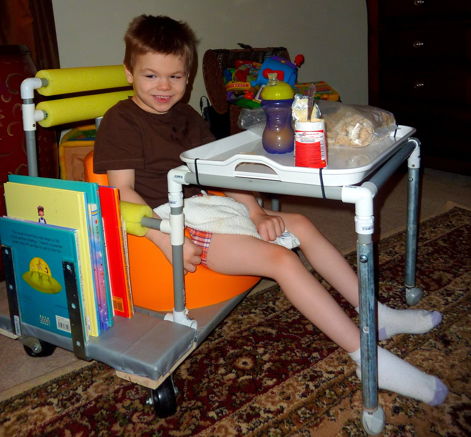 Chair For Autistic Child Hammock Stand Diy Eliah James Special Needs Projects